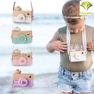 3D❤ Cute Cartoon Baby Kids Wooden Neck Camera Toy Photography Prop Decoration Children House Playing Toys