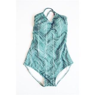 (Hà Nội sẵn) Đồ bơi liền thân bikini xanh đan lưng