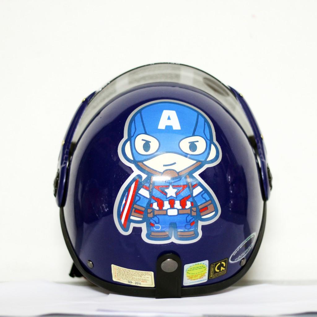 Mũ bảo hiểm cho bé Đại úy captain america Xanh Đậm Hàng chính hãng bảo hành 2 năm