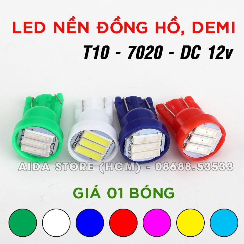 Bóng đèn led T10 gắn mặt đồng hồ, demi xe máy 3SMD 7202 DC12v