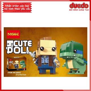 DECOOL 6603 Brick Headz Jurassic World Owen và Blue - Đồ chơi Lắp ghép Mini Minifigures Mô hình BrickHeadz 41614 thumbnail