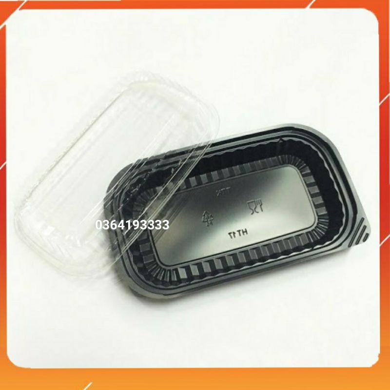 Hộp nhựa đen dùng 1 lần 100 cái Ht17 Ht12 kèm nắp