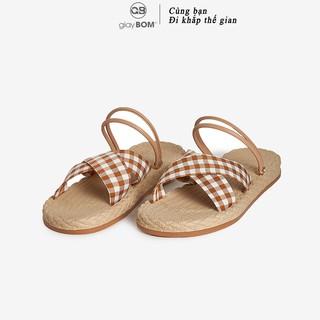 Giày sandal nữ giayBOM quai chéo họa tiết caro GB00123 thumbnail
