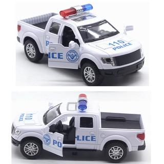 Xe ô tô cảnh sát mini bán tải bằng sắt xe chạy cót có âm thanh và đèn mở được cửa xe thumbnail
