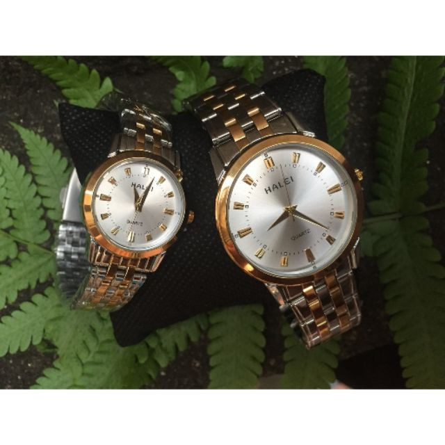 [Hàng xịn]Cặp Đồng hồ đôi nam nữ Halei mạ bạc không gỉ, chống nước, chống xước.