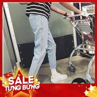 9.9 Quần Baggy jean unisex Quần jean rách gối 100% Sản Phẩm Như Hình( B05) -Hàng nhập khẩu