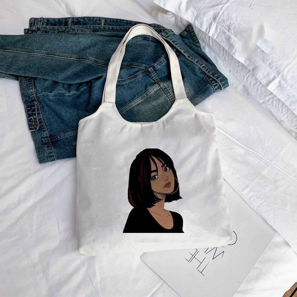 Túi Tote *BẦU* Vải Canvas đeo vai CÔ GÁI - Hàn Quốc Có Khóa Miệng Túi