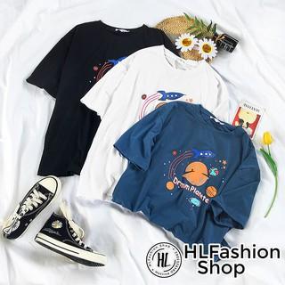 Áo thun tay lỡ form rộng Drmom Plonete, áo phông form rộng HLFashion thumbnail