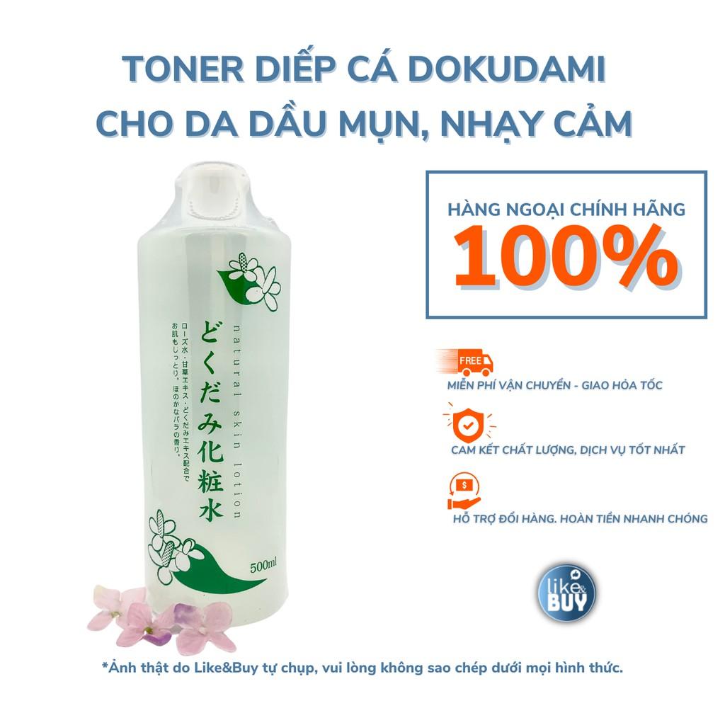 Toner diếp cá Dokudami Natural Skin Lotion cho da dầu mụn da nhạy cảm 500ml - hàng ngoại Like&Buy