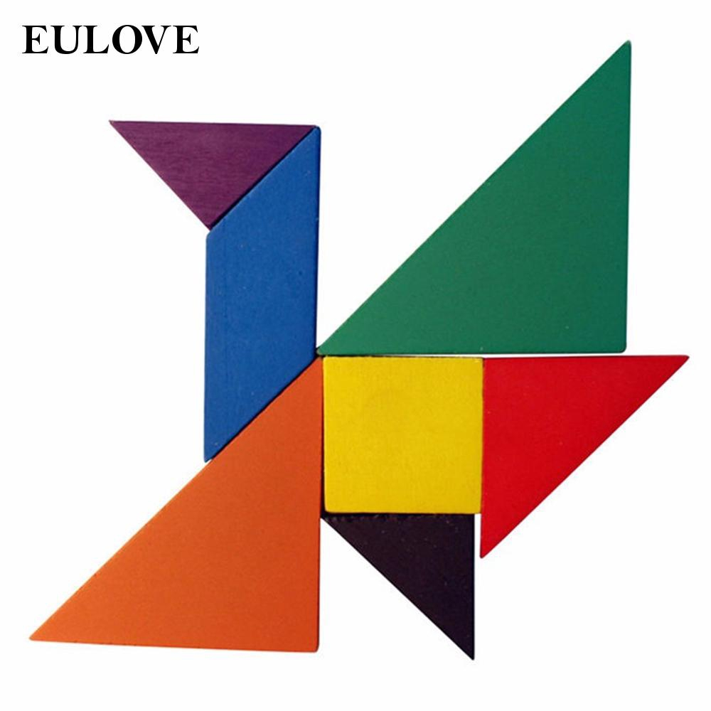 Kids Wooden Square Board Jigsaw Tangram Puzzle Educational Brain Reliable