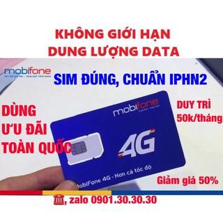 Sim 4G [Mobifone IPHN2] MAX KHÔNG GIỚI HẠN DUNG LƯỢNG DATA DÙNG TOÀN QUỐC