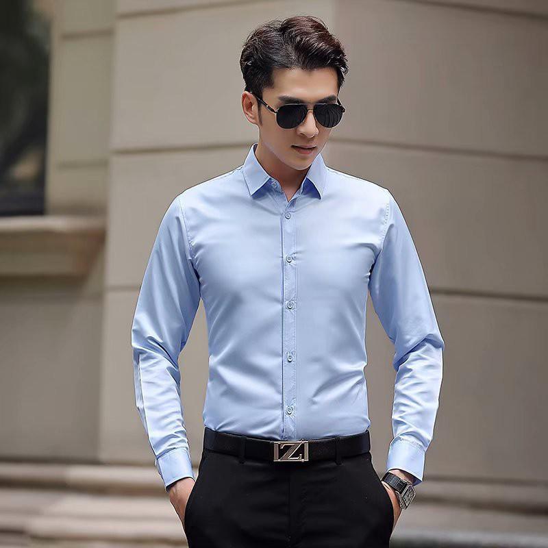 Áo sơ mi nam vải lụa cotton tay dài dáng ôm không nhăn, không xù