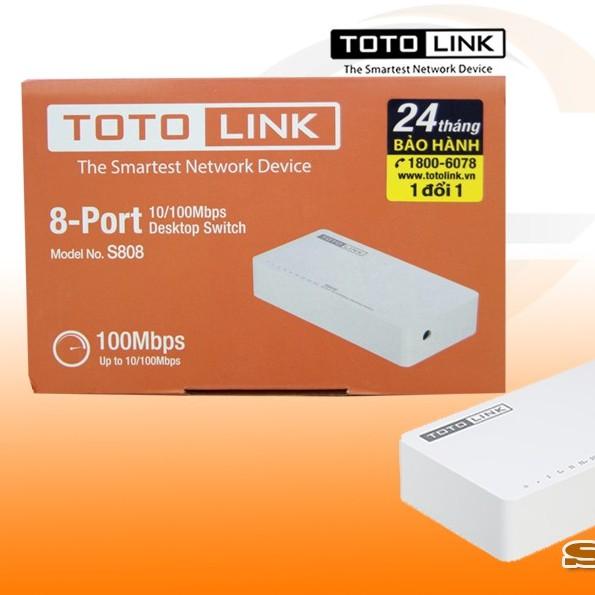 Bộ chia mạng 8 cổng Totolink S808 chính hãng Digiworld/Elite/Anh Ngọc phân phối – Switch 8 port Totolink Giá chỉ 123.000₫