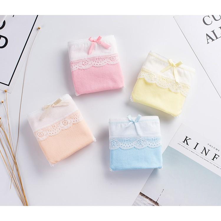 [Combo 5 quần] quần lót nữ cotton co dãn kết hợp viền ren quyến rũ phối nơ xinh xắn CR015 | SaleOff247
