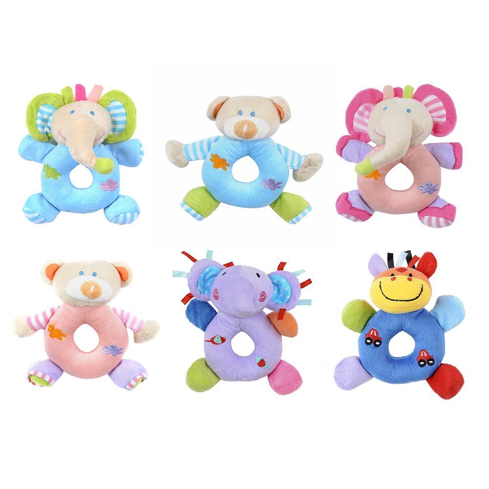 COD✌Newborn baby cartoon animal rattle hand bell plush toy