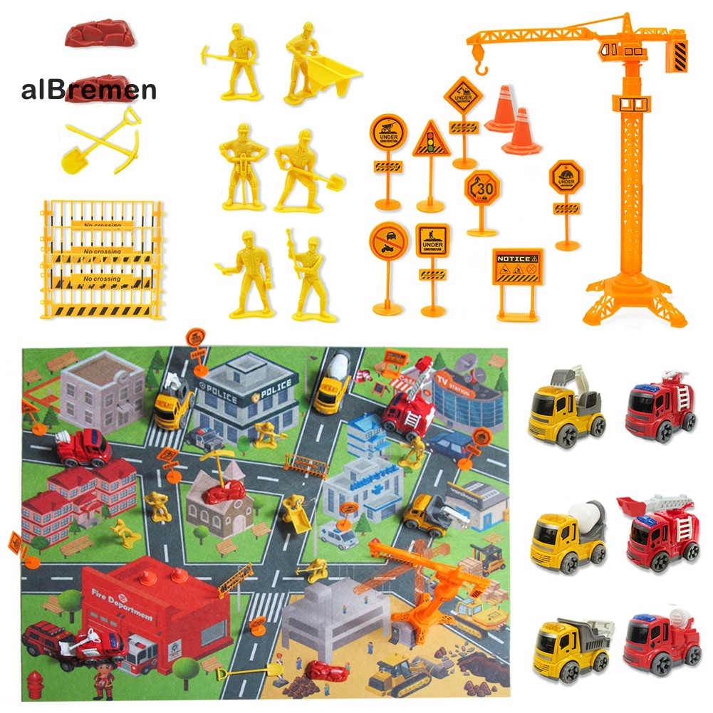 ✌Al 31Pcs Construction Vehicle Road Sign Fire Tuck Set Kids Toy Gift with Play Mat