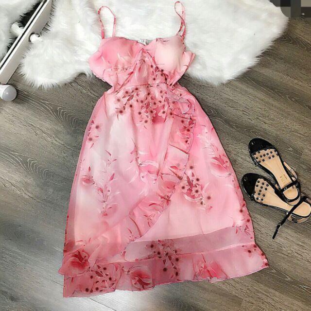 Đầm hoa 2 dây bèo thân