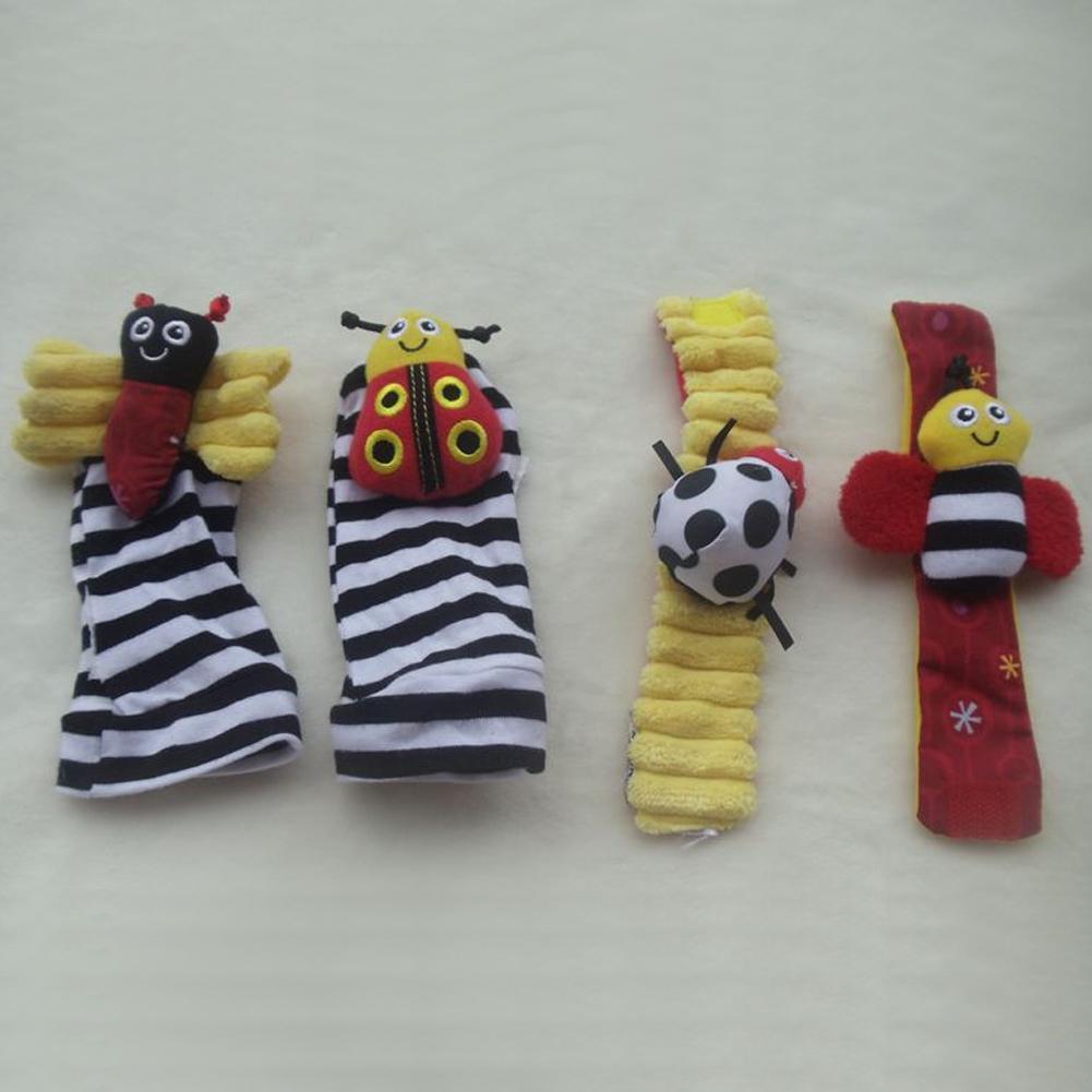 Baby Rattle Bug Finders Toys Infant Developmental Soft Wrist Strap Foot Socks