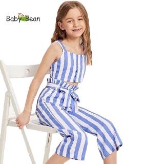 Bộ Đồ Lụa Bản Lưng thắt Dây Nơ bé gái BabyBean