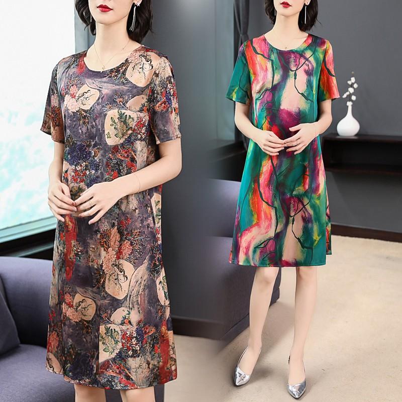 Hàng nhập khẩu: Váy ĐầM Trung Niên Xiao In ẤN Màu SắC Cổ Tròn QuầN Áo Nữ Xuân Hạ ChấT LiệU Satin, (MiễN Phí VậH188 t1819