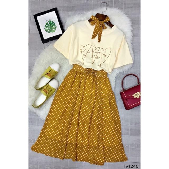 ‼️Set gồm: áo thun ♥️ + chân váy voan bi + khăn cổ CLIP