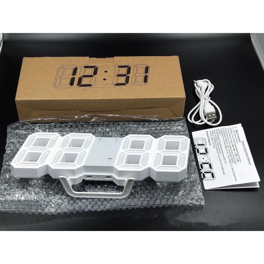 [ Hàng Chính Hãng ] Đồng hồ LED 3D treo tường, để bàn thông minh TN828 Smart Clock