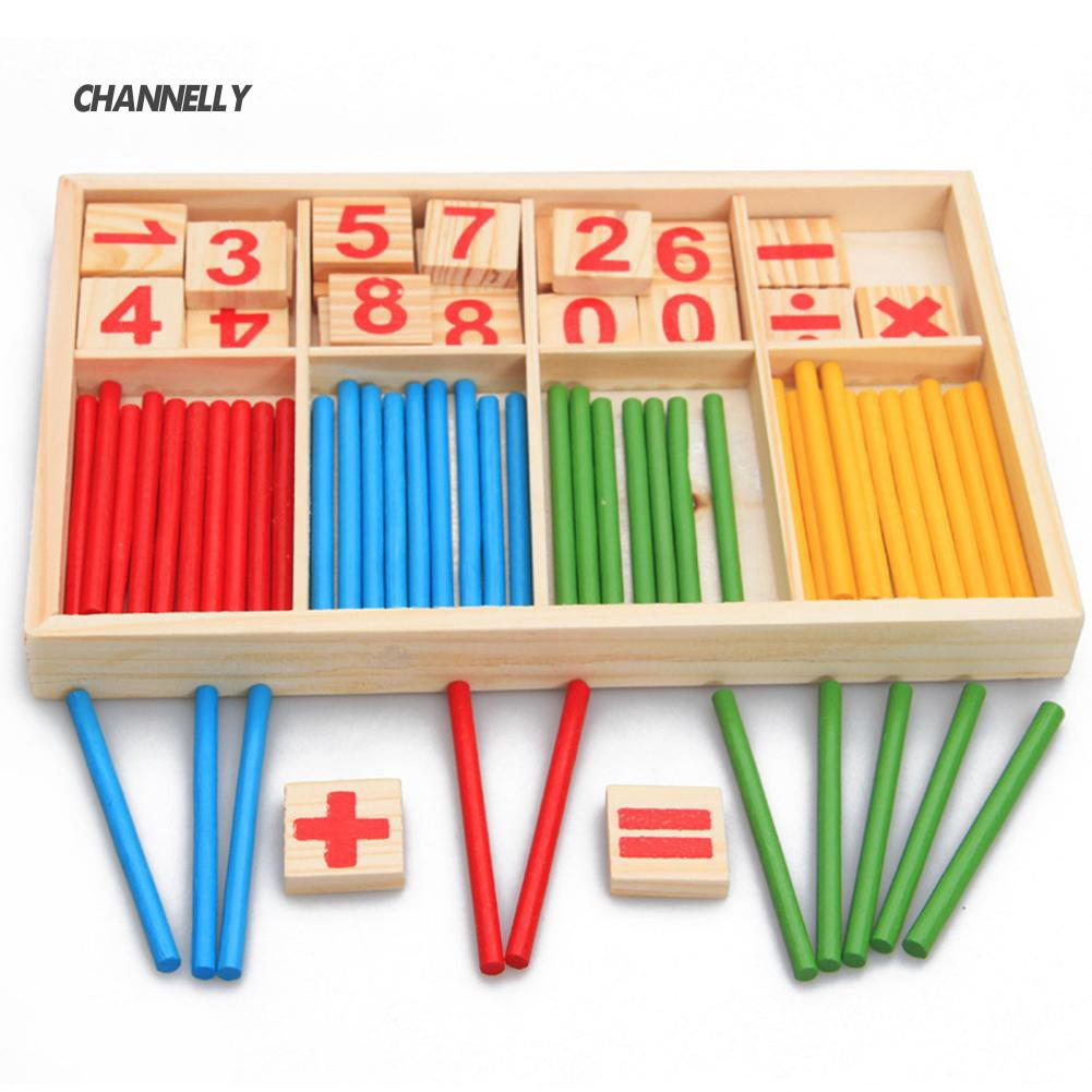 ■Cy Pre-School Wooden Mathematical Intelligence Stick Early Learn Counting Toy