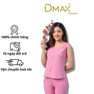 Bộ đồ mặc nhà mùa hè cotton Dmax cổ tim in họa tiết chữ quần ngố thumbnail