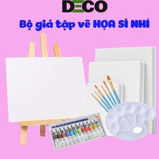 Bộ giá vẽ tranh để bàn và màu acrylic, tặng kèm 9 toan khung gỗ sồi cho bé tập vẽ (Sản phẩm đạt chuẩn Châu Âu)