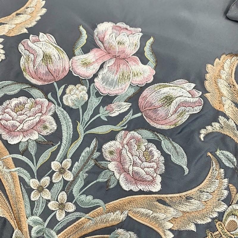 BỘ CHĂN GA GỐI (GA ĐÃ TRẦN BÔNG) Lụa Silk THÊU HOÀNG GIA siêu đẳng cấp -> được chọn màu