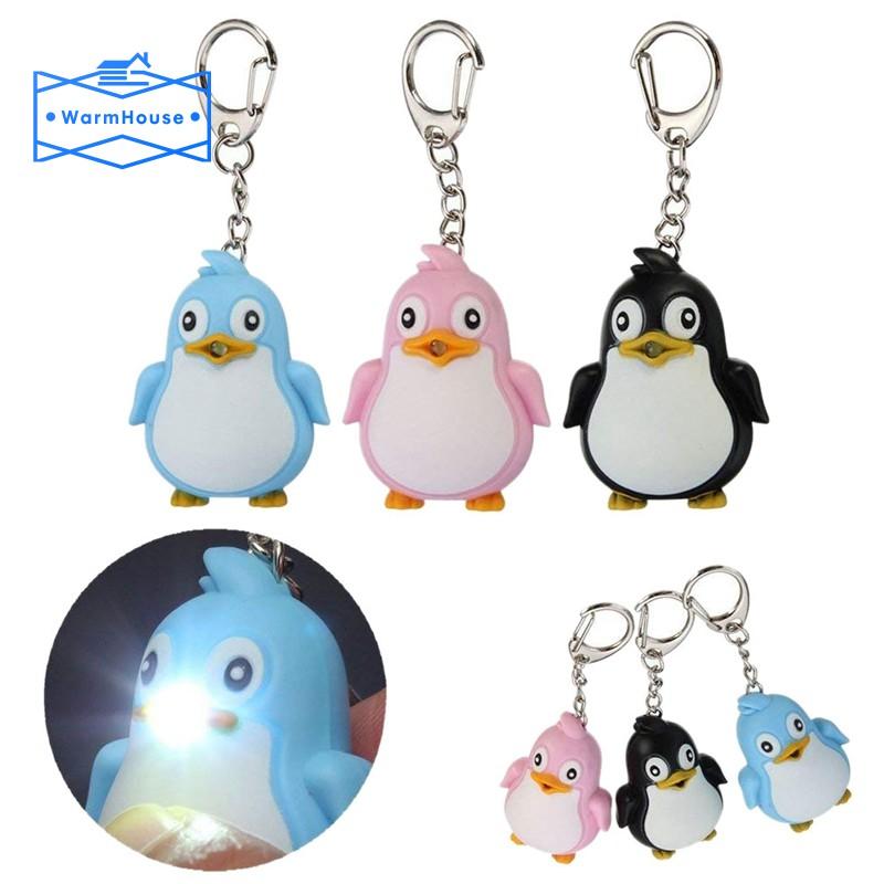 Móc khóa hình chim cánh cụt có đèn LED phát ra âm thanh