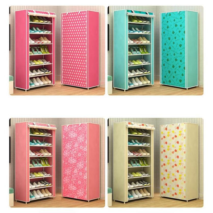 Tủ giày dép 7 tầng 6 ngăn bọc vải họa tiết hoa văn cao cấp giá rẻ / Kệ đa năng, giá để giày dép khung inox 7 tầng