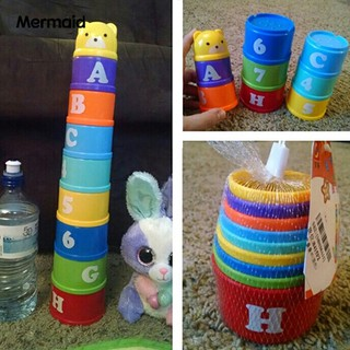 Mermaid 9Pcs/Set Educational Toy Figures Letters Bear Stack Cup Set Funny