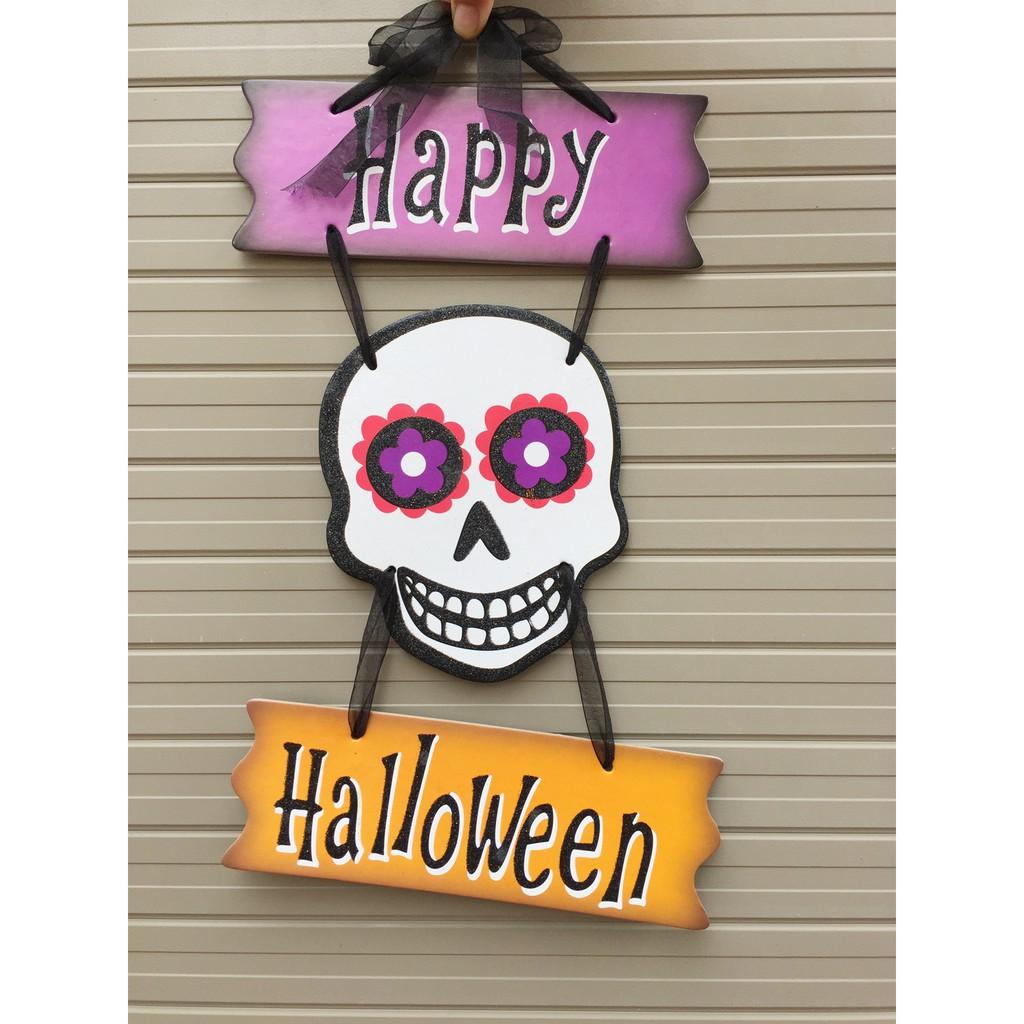 Bảng trang trí Halloween mẫu đầu lâu trắng 45cm x 28cm