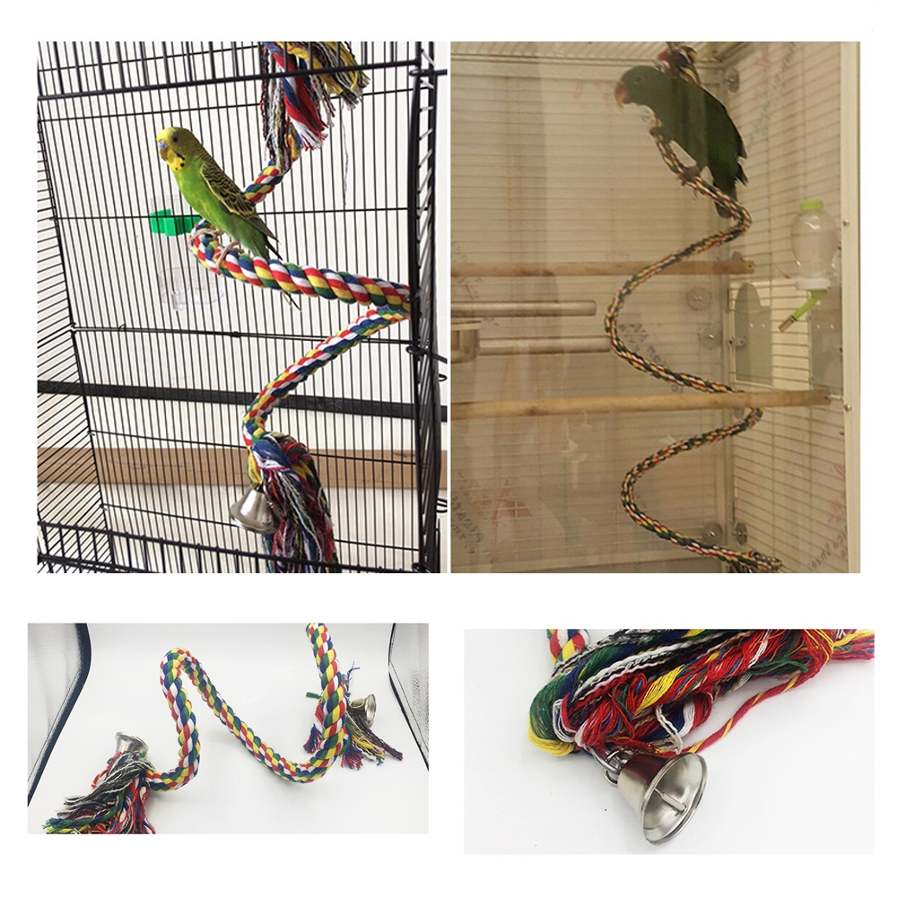 1Pc Bird Cage Parrot Pet Bungee Climbing Rotating Color Cotton Rope Toy 1m Long