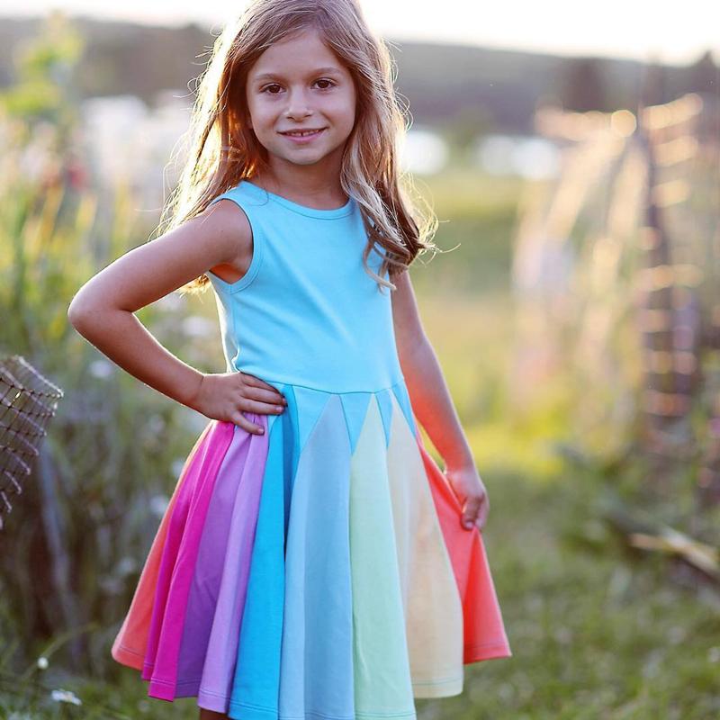 NNJXD Váy xòe phong cách công chúa màu bắt mắt đáng yêu cho bé gái