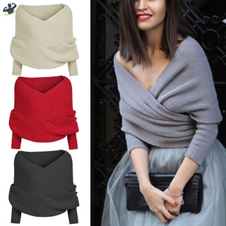 LL Women Knitted Sweater Tops Scarf with Sleeve Wrap Winter Warm Shawl Scarves @VN