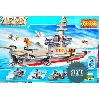 Lego Lắp Ráp Tàu Sân Bay – Có Đèn Led COGO 3349 ( 881 Miếng )