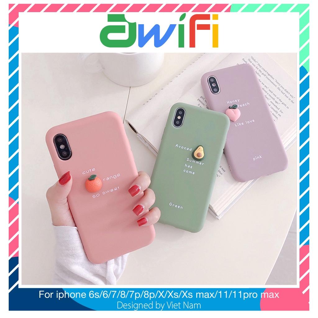 Ốp lưng iphone trái cây tí hon trơn 5s/6/6plus/6s/6splus/7/7plus/8/8plus/x/xr/xs/11/12/pro/max/plus/promax - Awifi E1-3