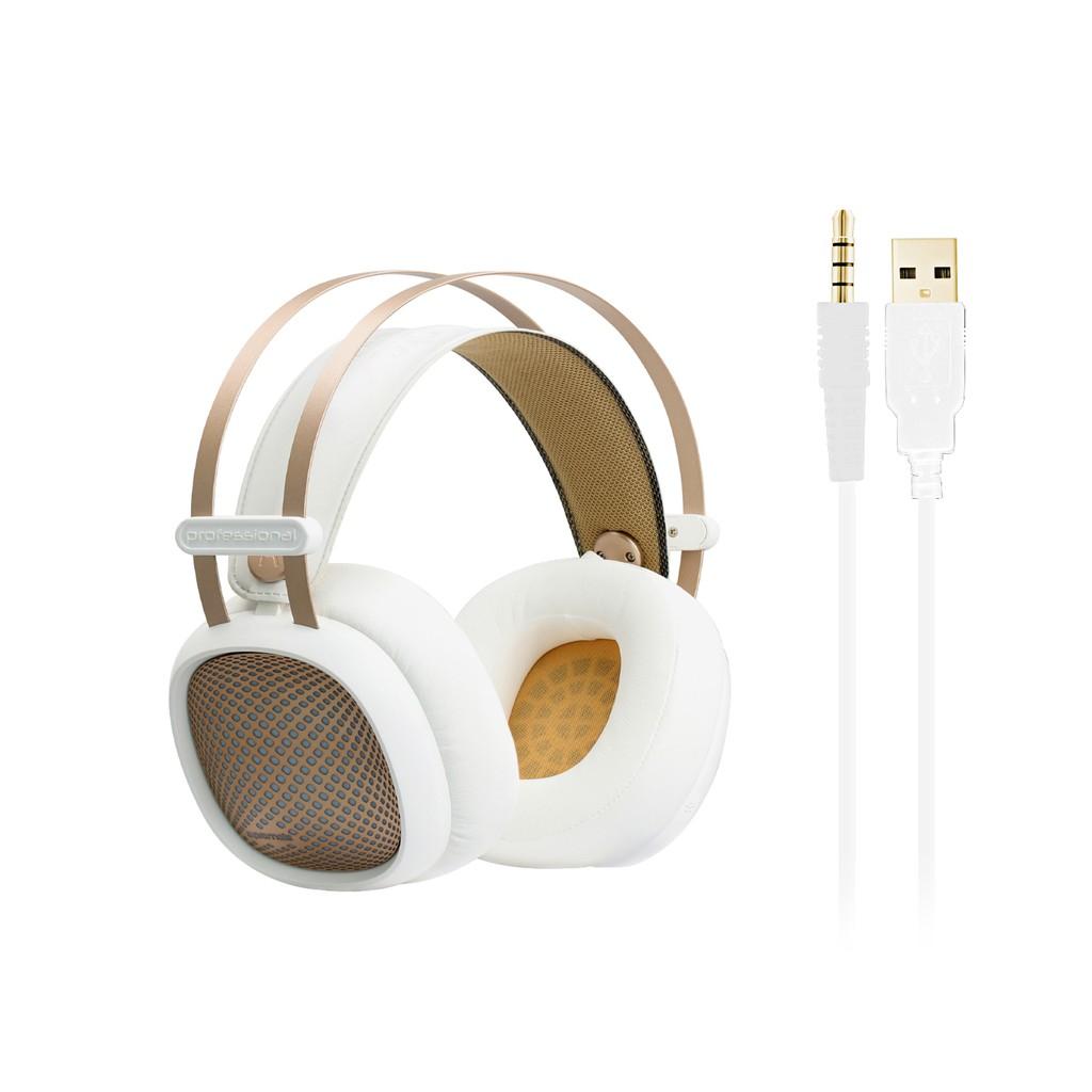 Tai nghe Over-Ear Promate Valiant kèm Mic & đèn LED (Trắng)
