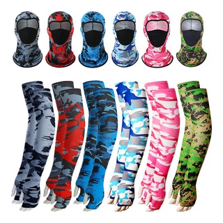 [2 Pcs Outdoor Sports Sunscreen Suit ][53cm Ice Silk Arm Sleeve Cooling Sleeve with Turban Face Mask ][Bike Riding Protective Suit] thumbnail