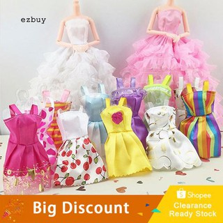 【Ready Stock】10Pcs/Lot Mixed Colors Styles Toy Clothes Tutu Princess Dresses for Dollhouses