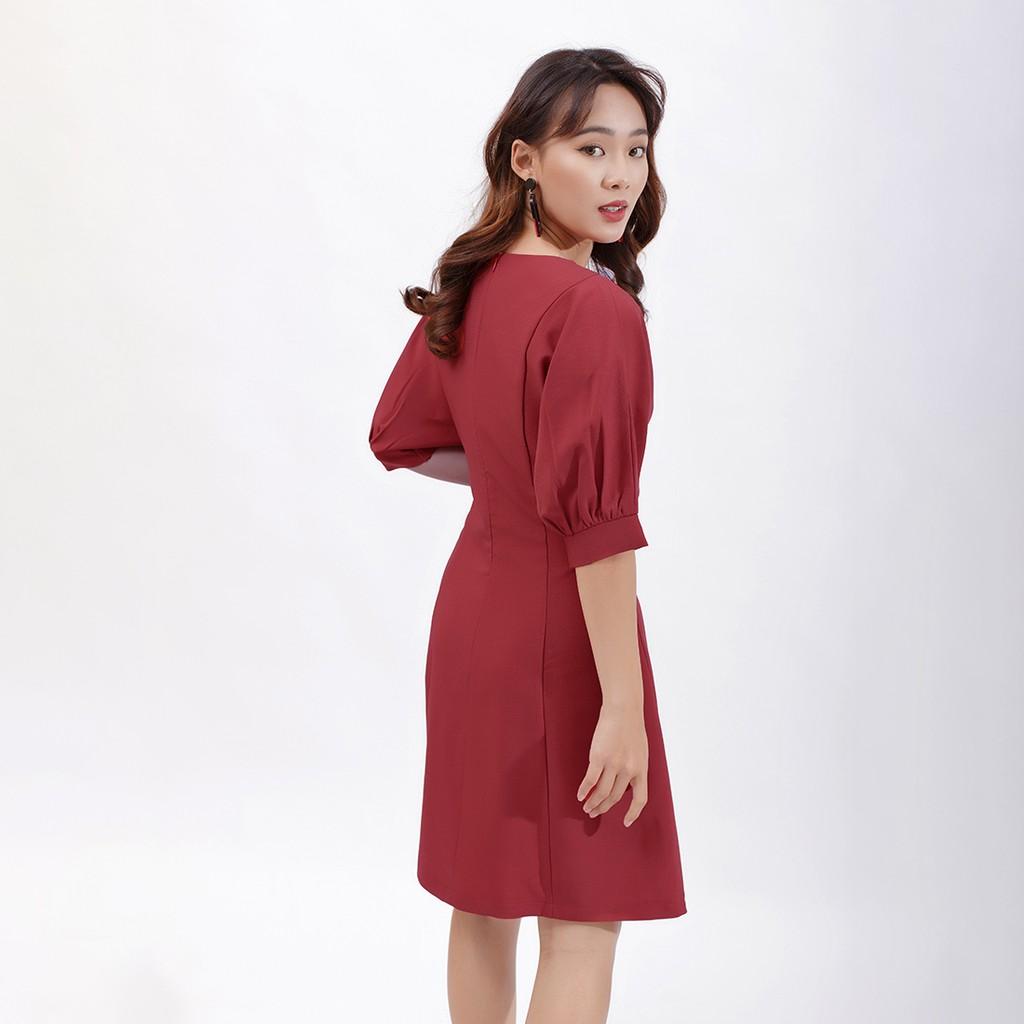 Váy đầm chữ a thời trang Eden tay cánh dơi phối nút -