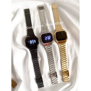 Đồng hồ nam, nữ a168-CUB unisex dây sắt kiểu dáng sang trọng dành cho học sinh sinh viên