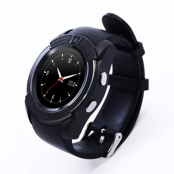 Đồng hồ thông minh V8 mặt tròn sang trọng - màu đen - Đồng hồ thông minh V8
