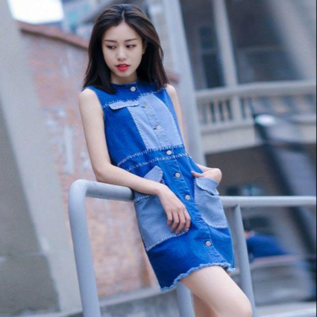 Đầm dáng suông jean, túi cách điệu - HNG