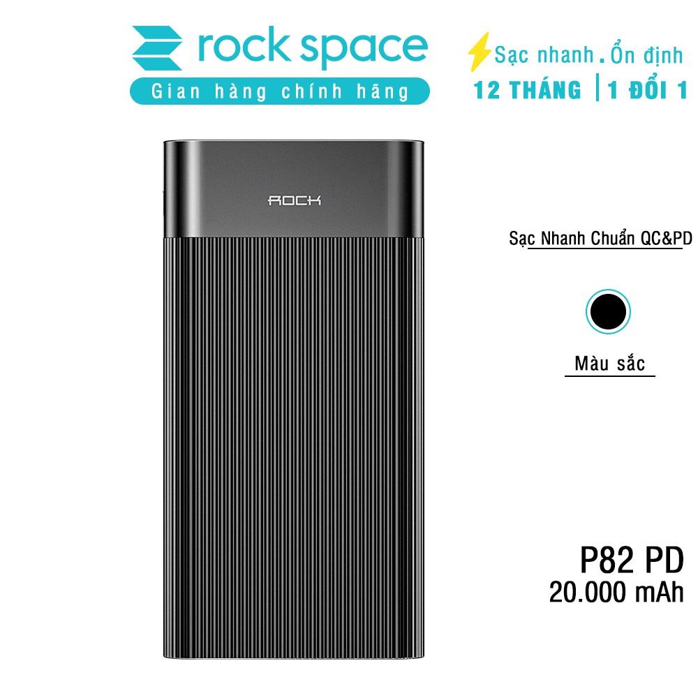 Pin dự phòng Rockspace P82 20.000 mAh hỗ trợ sạc nhanh chuẩn QC,PD cho Samsung và iPhone