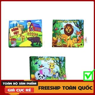 [FREESHIP-EXTRA] ComBo 3 Sách Vải Giáo dục mầm non-Chủ đề Động Vật-Dành cho bé Sơ Sinh-kích thích IQ-Trí tưởng tượng