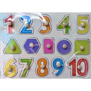 [Giá Hủy Diệt] Đồ chơi bảng ghép gỗ núm cầm chủ đề 10 số kèm hình