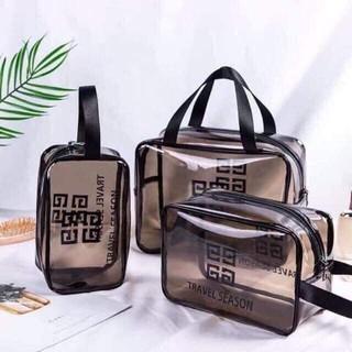 SALE SỐC – Set 3 túi đựng mỹ phẩm du lịch trong suốt